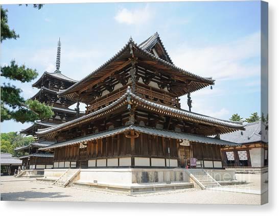 Main Hall Of Horyu-ji - World's Oldest Wooden Building Canvas Print