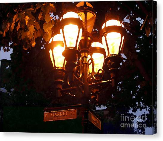 Main Street Gaslights - Abstract Canvas Print
