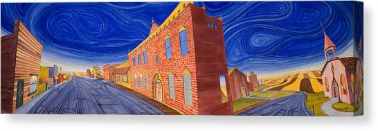 Canvas Print featuring the painting Main Street Panoramic by Scott Kirby