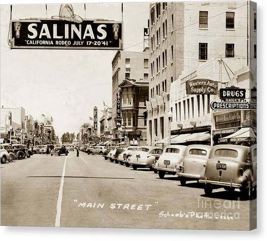 Main Street Salinas California 1941 Canvas Print