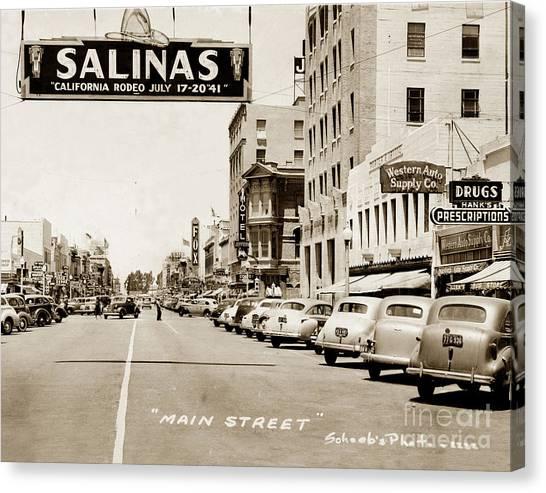 Main Street Salinas California 1941 Canvas Print