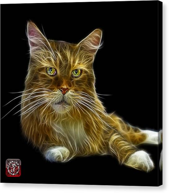 Canvas Print featuring the painting Maine Coon Cat - 3926 - Bb by James Ahn