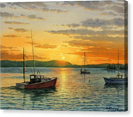 Lobster Canvas Print - Maine Harbor Sunset by Paul Krapf