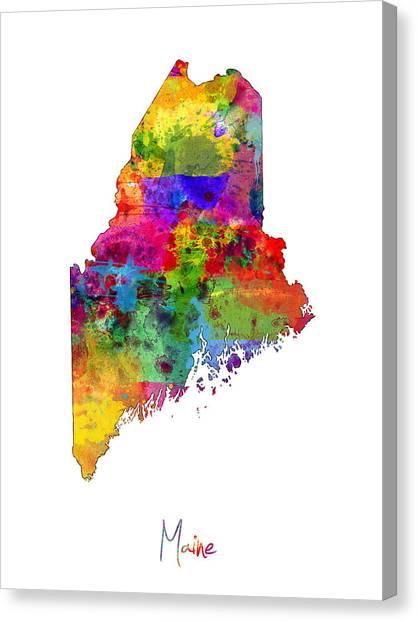 Augusta Canvas Print - Maine Map by Michael Tompsett