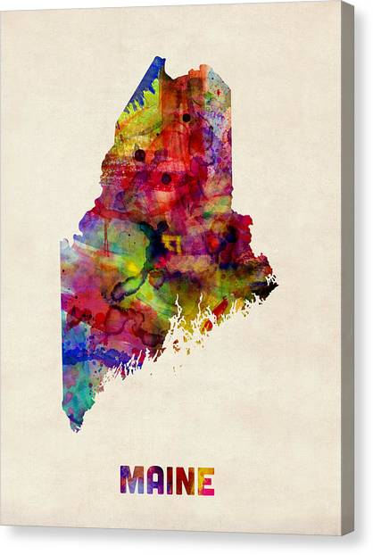 Augusta Canvas Print - Maine Watercolor Map by Michael Tompsett