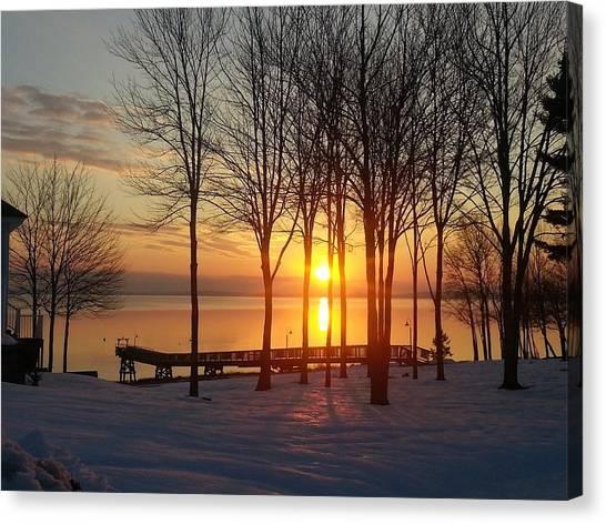 Maine Winter Sunrise Canvas Print by Melissa C