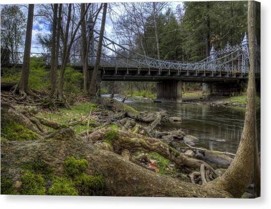 Majestic Bridge In The Woods Canvas Print