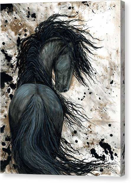Black Stallion Canvas Print - Majestic Friesian Horse 123 by AmyLyn Bihrle