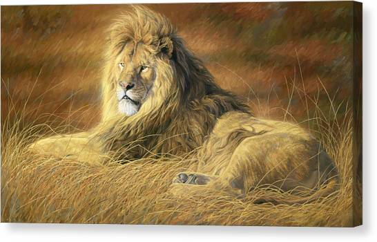 Lions Canvas Print - Majestic by Lucie Bilodeau