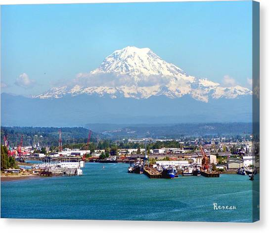 Majestic Mt Rainier And Pt Of Tacoma Wa Canvas Print