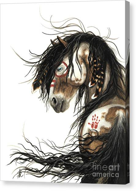 Native American War Horse Canvas Print - Majestic Mustang Horse by AmyLyn Bihrle