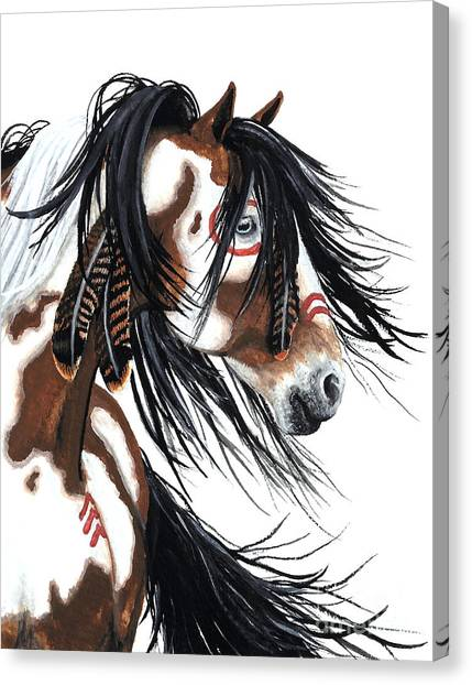 War Horse Canvas Print - Majestic Pinto Horse by AmyLyn Bihrle