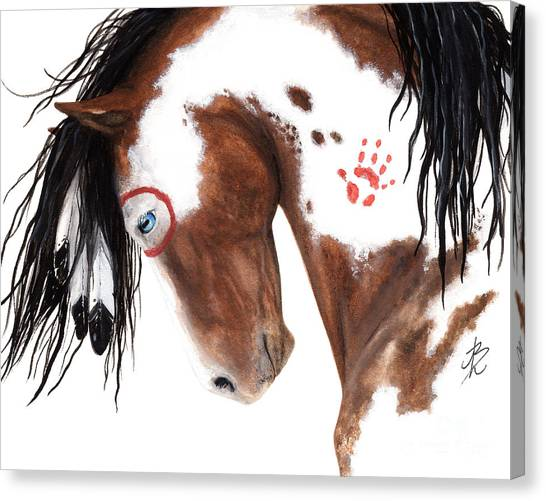 War Horse Canvas Print - Majestic Pinto Horse 129 by AmyLyn Bihrle