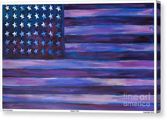 Jasper Johns Canvas Print - Majestic Purple Flag by Eric  Schiabor