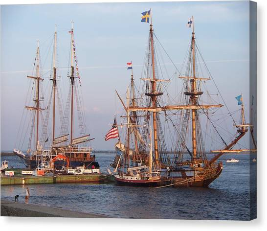 Majestic Tall Ships Canvas Print by Rosanne Bartlett