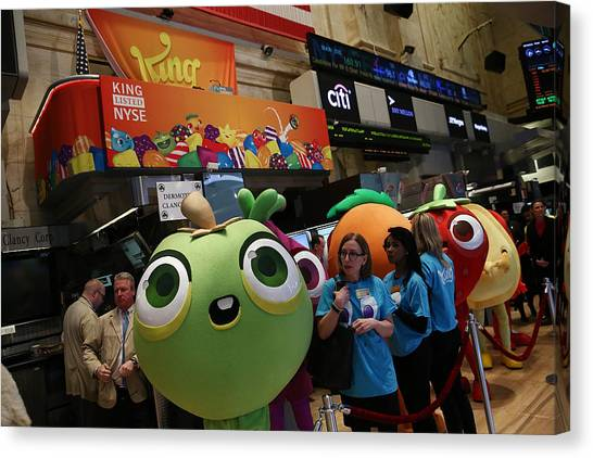 Makers Of Popular Candy Crush Game Make Public Debut On New York Stock Canvas Print by Andrew Burton