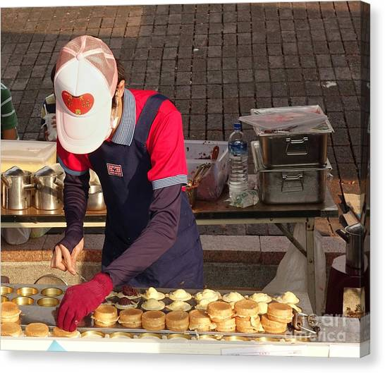 Stuffing Canvas Print - Making Chinese Red Bean Cakes by Yali Shi