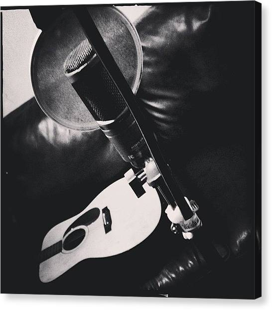 Microphones Canvas Print - Making More Demos by Lee-o DeLeon