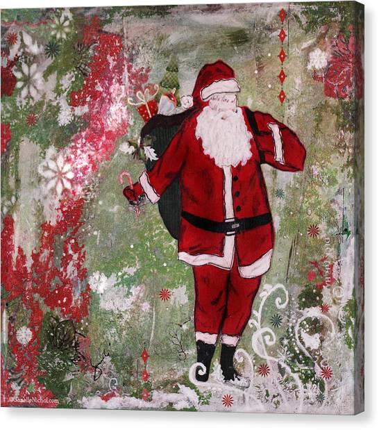 Santa Claus Canvas Print - Making Spirits Bright by Janelle Nichol