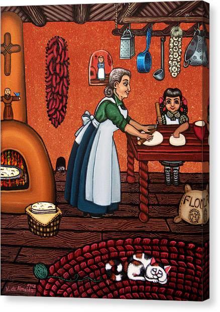 Grandma Canvas Print - Making Tortillas by Victoria De Almeida