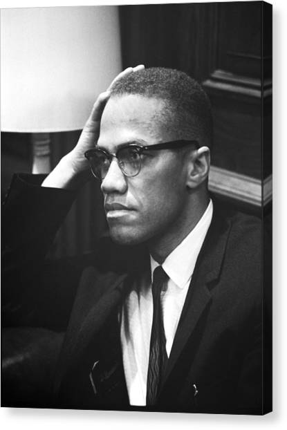Press Conference Canvas Print - Malcolm X by Underwood Archives Marion S Trikosko