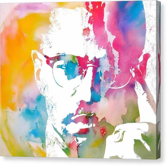 Racism Canvas Print - Malcolm X Watercolor by Dan Sproul