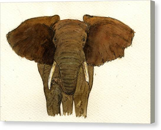 Ivory Canvas Print - Male Elephant by Juan  Bosco