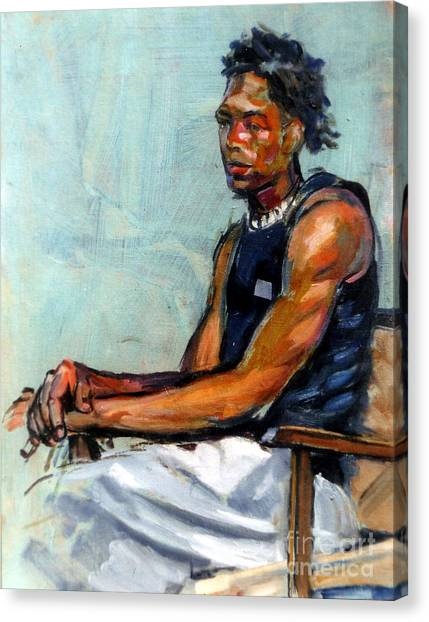 Male Figure Sitting Canvas Print