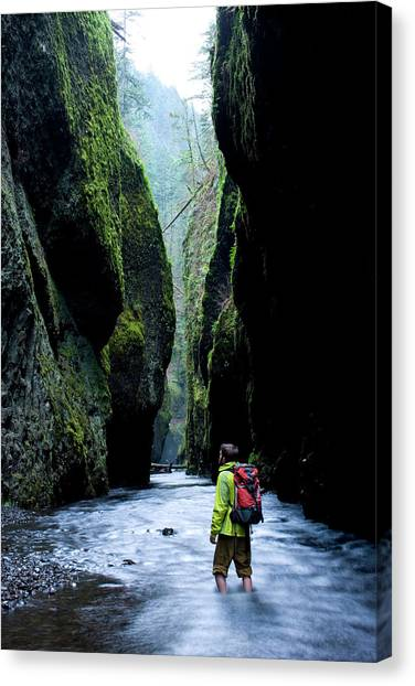 Ankles Canvas Print - Male Hiker Standing In Stream Looking by Woods Wheatcroft