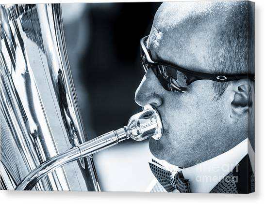 Male In Sunglasses Blowing Mouthpiece Of Tuba Canvas Print