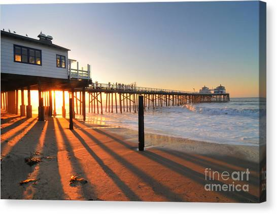 Malibu Pier Sunburst Canvas Print