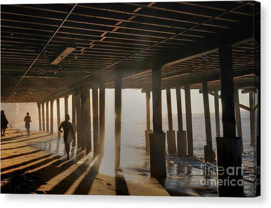 Malibu Pylon Sunrise Canvas Print