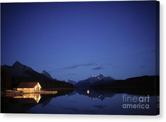 Maligne Lake Boathouse At Night Canvas Print