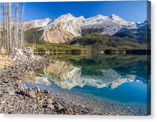 Maligne Lake Reflection Jasper Canvas Print by Pierre Leclerc Photography