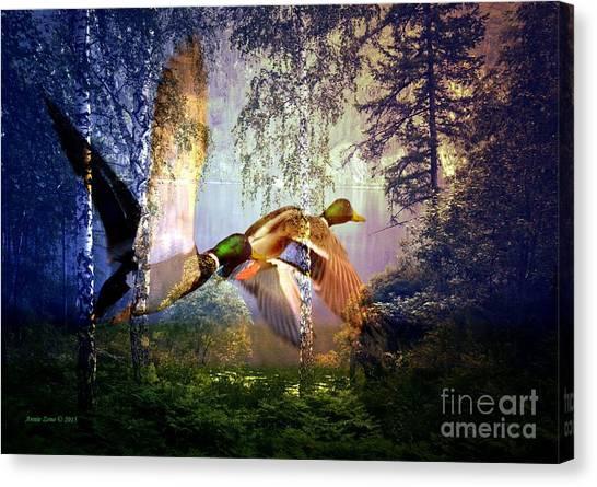 Mallard Ducks Flying To The Lake Canvas Print