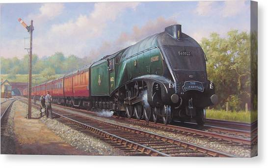 Steam Trains Canvas Print - Mallard On The Elizabethan. by Mike Jeffries