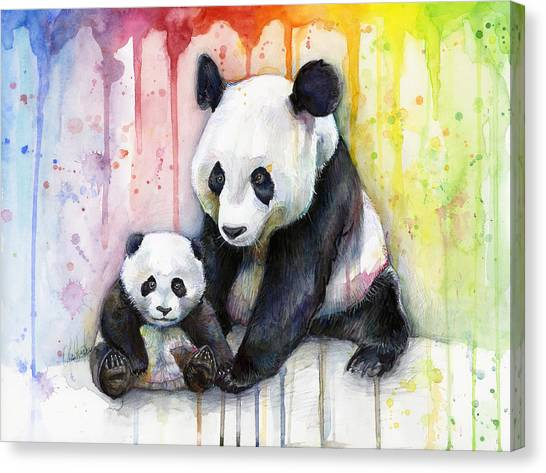 Rainbows Canvas Print - Panda Watercolor Mom And Baby by Olga Shvartsur