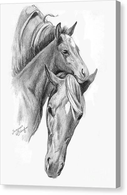 Mama And Baby Horse Canvas Print