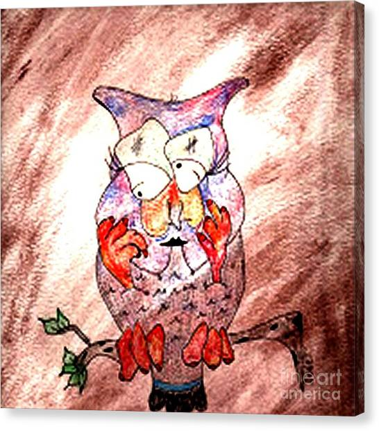 Mama Owl Canvas Print by Donna Daugherty