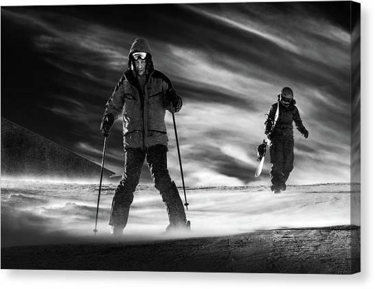Skiing Canvas Print - Mamma I'm Coming Home by Sebastian Vasiu |