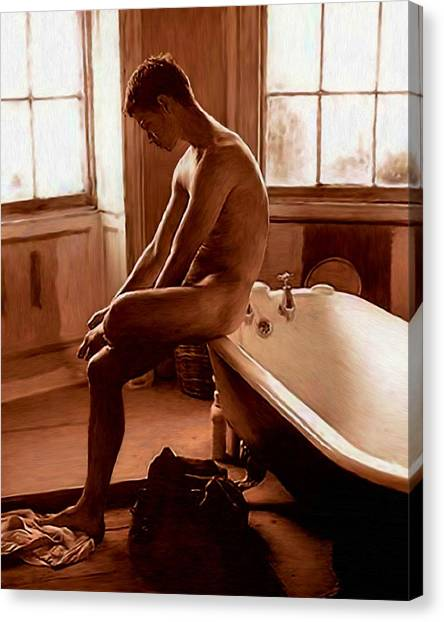 Man And Bath Canvas Print