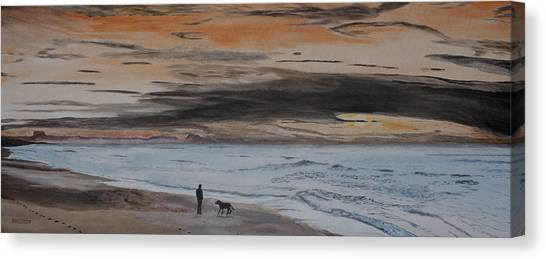 Man And Dog On The Beach Canvas Print
