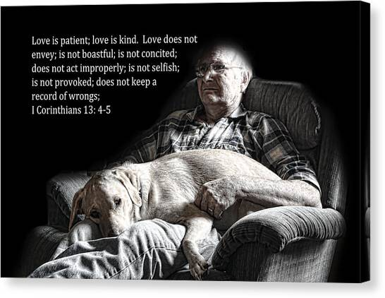 Man And His Dog At Rest 1cor.13v4-5 Canvas Print
