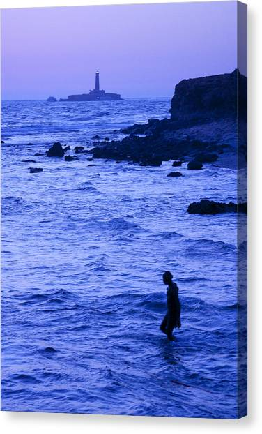 Man And Lighthouse Canvas Print