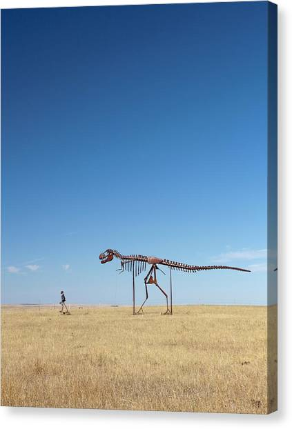 Steak Canvas Print - Man And T. Rex Skeletons by Jim West