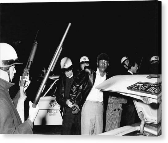 Police Officers Canvas Print - Man Arrested By La Police by Underwood Archives