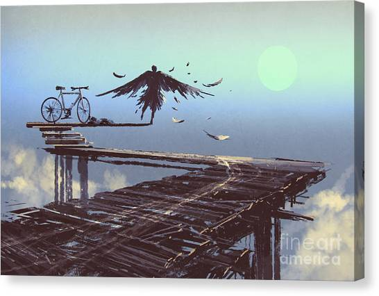 Sun Canvas Print - Man Becomes Bird Standing On End Of by Tithi Luadthong