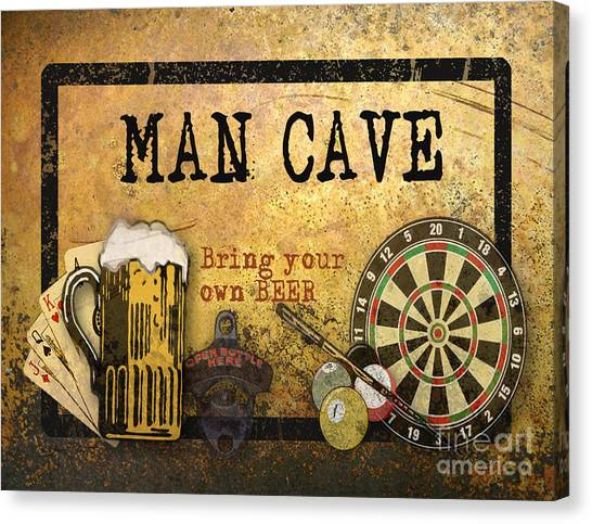 Man Cave-bring Your Own Beer Canvas Print