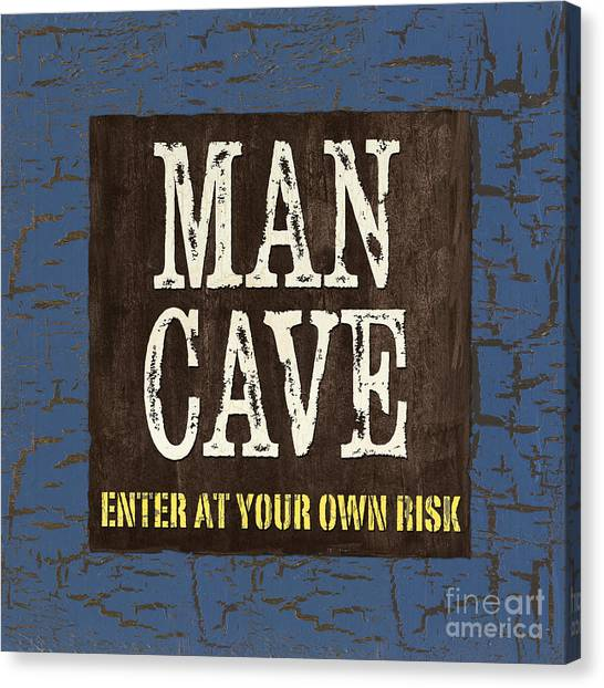 Dad Canvas Print - Man Cave Enter At Your Own Risk by Debbie DeWitt