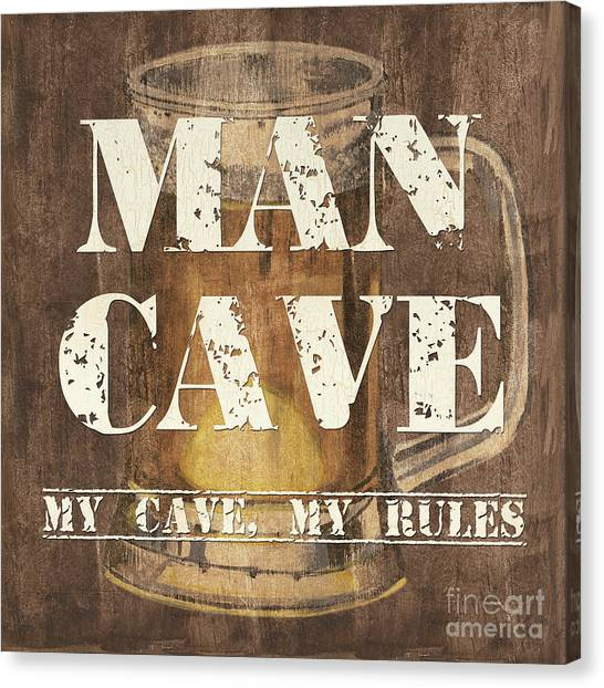 Pub Canvas Print - Man Cave My Cave My Rules by Debbie DeWitt